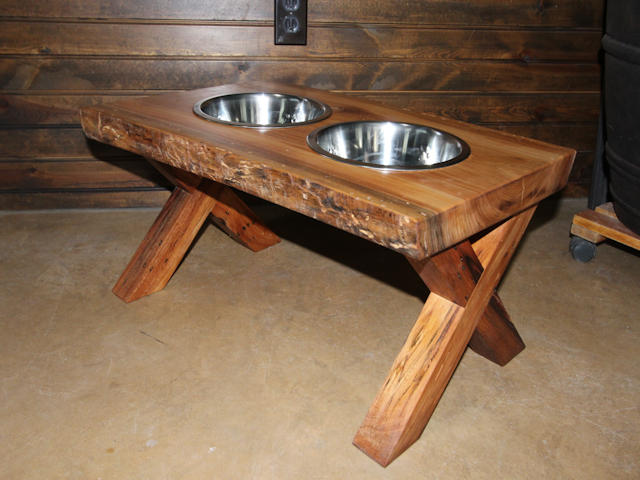 wooden dog bowl cross legs